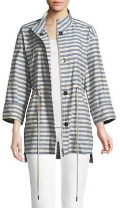 Lafayette 148 New York Jayna Vitality-Stripes Zip-Front Jacket