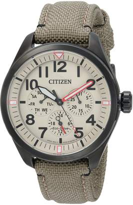 Citizen Men's 'Military' Quartz Stainless Steel and Nylon Casual Watch, Color:Green (Model: BU2055-08X)