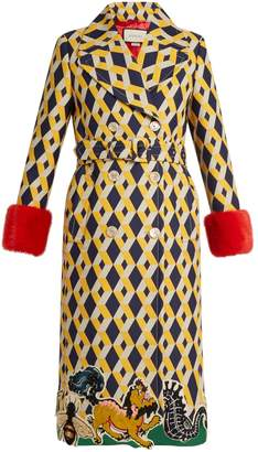 Gucci Geometric-print fur-trimmed wool-blend coat