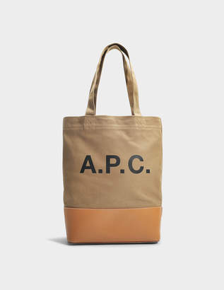 A.P.C. Axel Tote Bag in Kaki Canvas and Smooth Leather