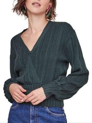 ASTR the Label Evie Cotton-Blend Faux Wrap Sweater