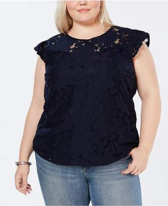 Monteau Trendy Plus Size Lace Top