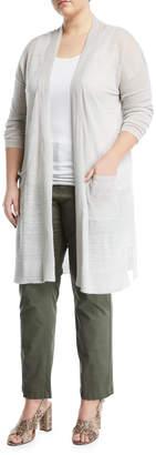 Neiman Marcus Plus Distressed Duster Cardigan, Plus Size