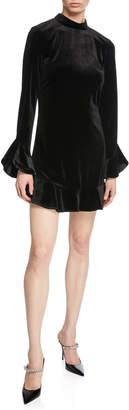 Laundry by Shelli Segal Long-Sleeve Velvet Flounce Dress