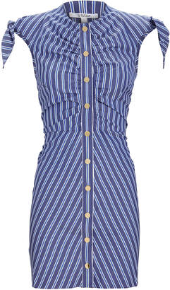 Derek Lam 10 Crosby Ruched Striped Mini Dress