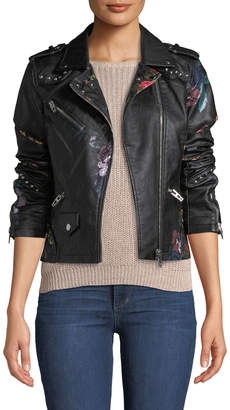 Moto Anna Cai Floral-Print Faux-Leather Jacket