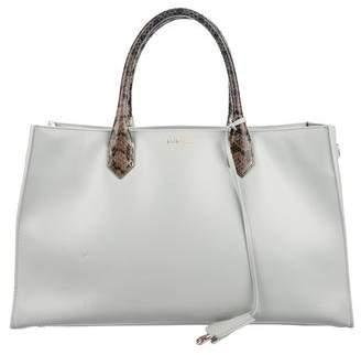 Balenciaga Snakeskin-Accented Padlock Nude Work XS Bag