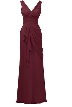 Alicepub Sleeveless Chiffon Bridesmaid Dress Long Women's Prom Party Evening Gown