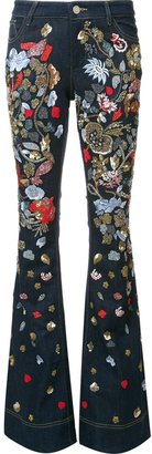 Alice+Olivia beaded florals flared trousers $695 thestylecure.com