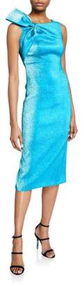 Theia Metallic Boat-Neck Dress with Shoulder Bow Detail