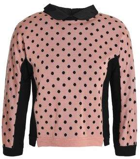 RED Valentino Satin-Trimmed Jacquard Wool Silk And Cashmere-Blend Sweater