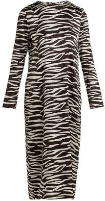 Ganni Blakely Zebra Print Silk Blend Dress - Womens - Brown Print