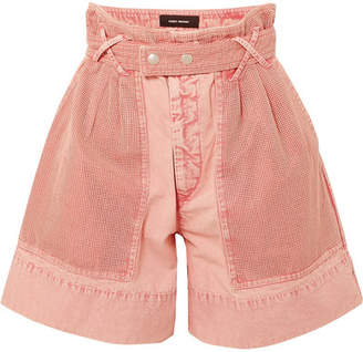 Isabel Marant Twen High-rise Mesh-paneled Denim Shorts - Pink