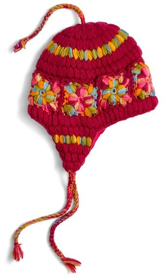 Women's Nirvanna Designs Flower Crochet Earflap Hat - Pink