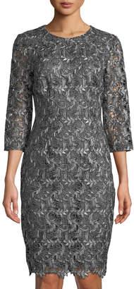 St. John 3/4-Sleeve Plume-Embroidered Guipure Dress