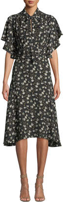 Max Studio Floral Asymmetric Midi Dress
