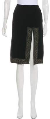 Celine Embroidered Knee-Length Skirt