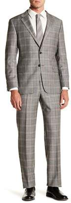 Hickey Freeman Grey Plaid Two Button Notch Lapel Wool & Cashmere Suit