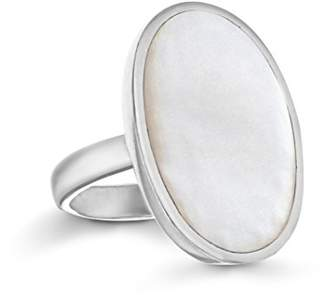 Mother of Pearl Tuscany Silver Women's Sterling Silver 23 x 15 mm Oval White Ring, Size P