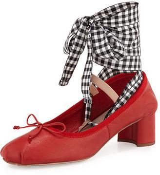 Miu Miu Leather Ankle-Wrap Mary Jane 45mm Pump $650 thestylecure.com