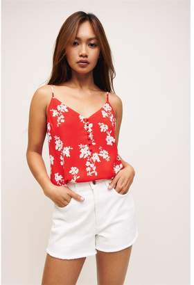 Dynamite Olivia Button Front Cami Red W/ White Floral