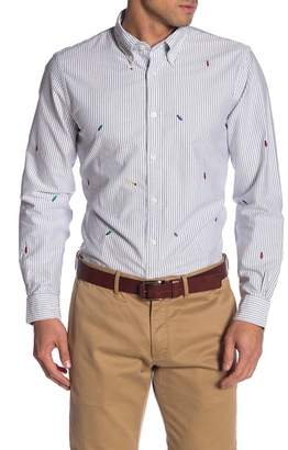 Brooks Brothers Holiday Lights Embroidered Striped Regent Fit Oxford Sport Shirt