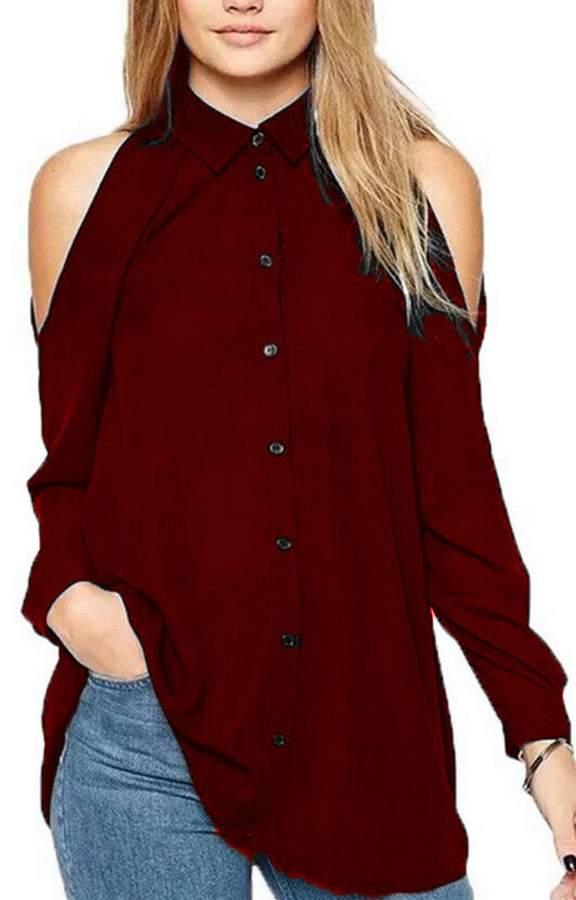 YACUN Women's Off Shoulder Long Shirts Chiffon Tops Turn Down Collar Button-Down Blouse