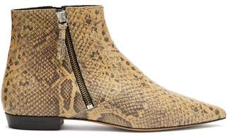 Isabel Marant Dawie Python Print Leather Ankle Boots - Womens - Cream Multi