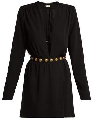 Saint Laurent Deep Slit Velvet Mini Dress - Womens - Black