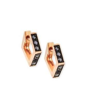 Black Diamond Stevie Wren 14k Rose Gold Mini Octagon Hoop Earrings