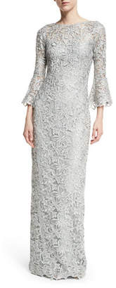 Rickie Freeman For Teri Jon Bell-Sleeve Floral Lace Column Gown