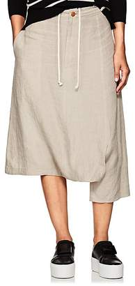 Yohji Yamamoto Regulation Women's Cutout Linen Crop Pants - Ivory