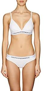 Calvin Klein Women's Logo Cotton-Blend Soft Bra - White