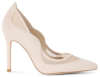 KAREN MILLEN Suede and Mesh Pointed-Toe Court Pumps $225 thestylecure.com