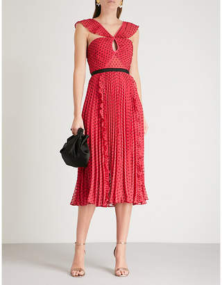 Self-Portrait Plumetis chiffon midi dress