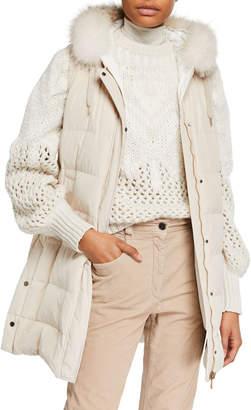 Brunello Cucinelli Long Fur-Trimmed Taffeta Puffer Vest