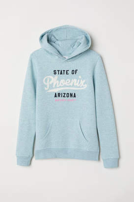 H&M Printed Hooded Sweatshirt - Turquoise