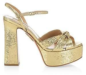 Aquazzura Women's Baba Glitter Platform Sandals