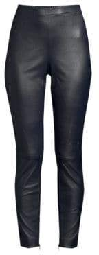 St. John Stretch Nappa Leather Cropped Leggings
