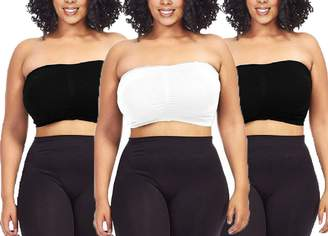 c7b9d0e03109a Dinamit Jeans 3-Pack Plus Size Seamless Strapless Bandeau Tube Top Bra-Black -