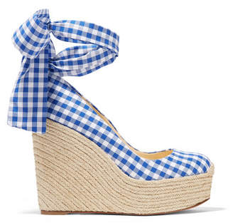Christian Louboutin Barbaria Zeppa 120 Gingham Canvas Wedge Espadrilles - Navy