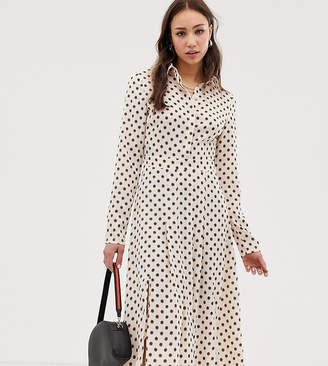 Glamorous Tall midi shirt dress in floral polka dot