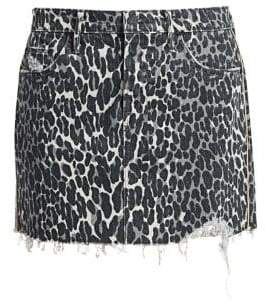 Mother The Vagabond Frayed Denim Mini Skirt