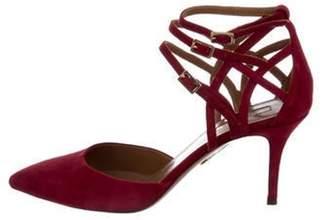 Aquazzura Suede Pointed-Toe Ankle-Strap Pumps Suede Pointed-Toe Ankle-Strap Pumps