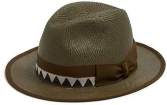 Borsalino Zigzag Band Panama Hat - Mens - Khaki Multi
