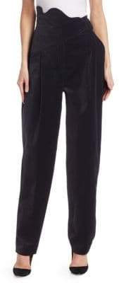 Rosie Assoulin High-Waist Velvet Scallop Pants