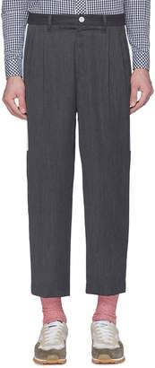 John Undercover Johnundercover Stripe outseam pleated cropped wool twill pants