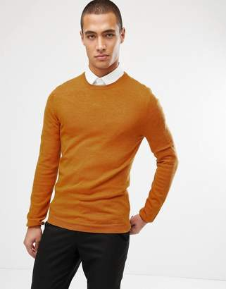 Asos Design DESIGN muscle fit merino wool jumper in mustard