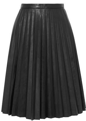 J.Crew Pleated Faux Leather Midi Skirt - Black