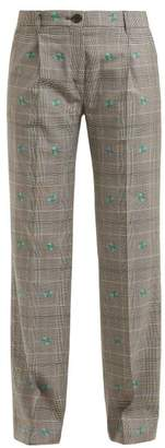ALEXACHUNG Prince Of Wales Checked Trousers - Womens - Grey